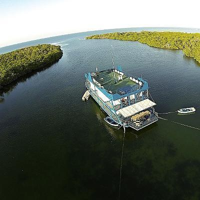 Floating hotel Tortuga from dron view
